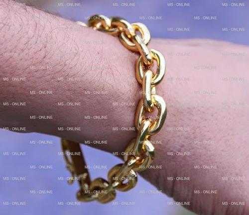 big pulseira masculina folheada a ouro 18k com fecho gaveta