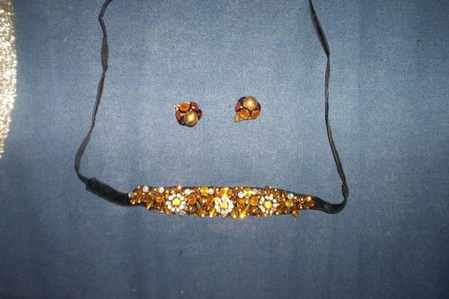 bijouterie antigua gargantilla y clips piedras fantasía