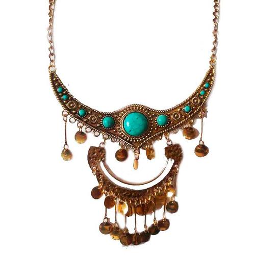 bijuteria maxi colar feminino franjas com pedra delicado