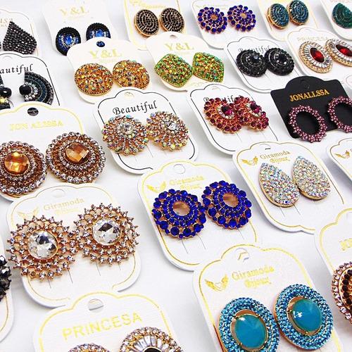 bijuterias finas atacado kit c/26 brincos botão strass biju