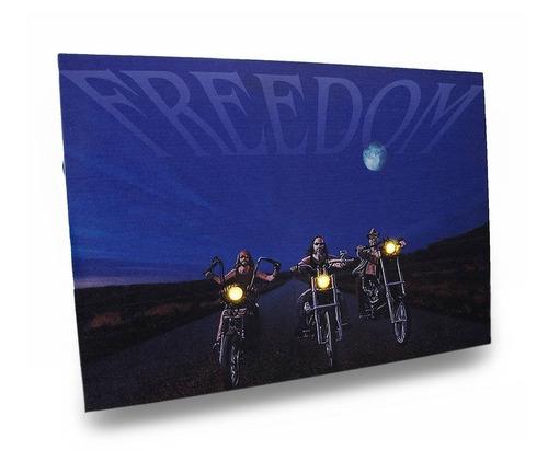 biker freedom 20 x 14 impreso lienzo led colg + envio gratis