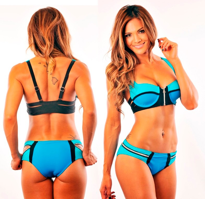 Trajes De Baño Color Turquesa:Bikini Azul Turquesa Cierre Traje De Baño Dama Talla Grande – $ 390