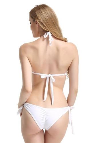 bikini blanco elasticado talla l nuevo