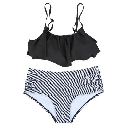 bikini cintura alto volantes de traje de baño de a rayas mu