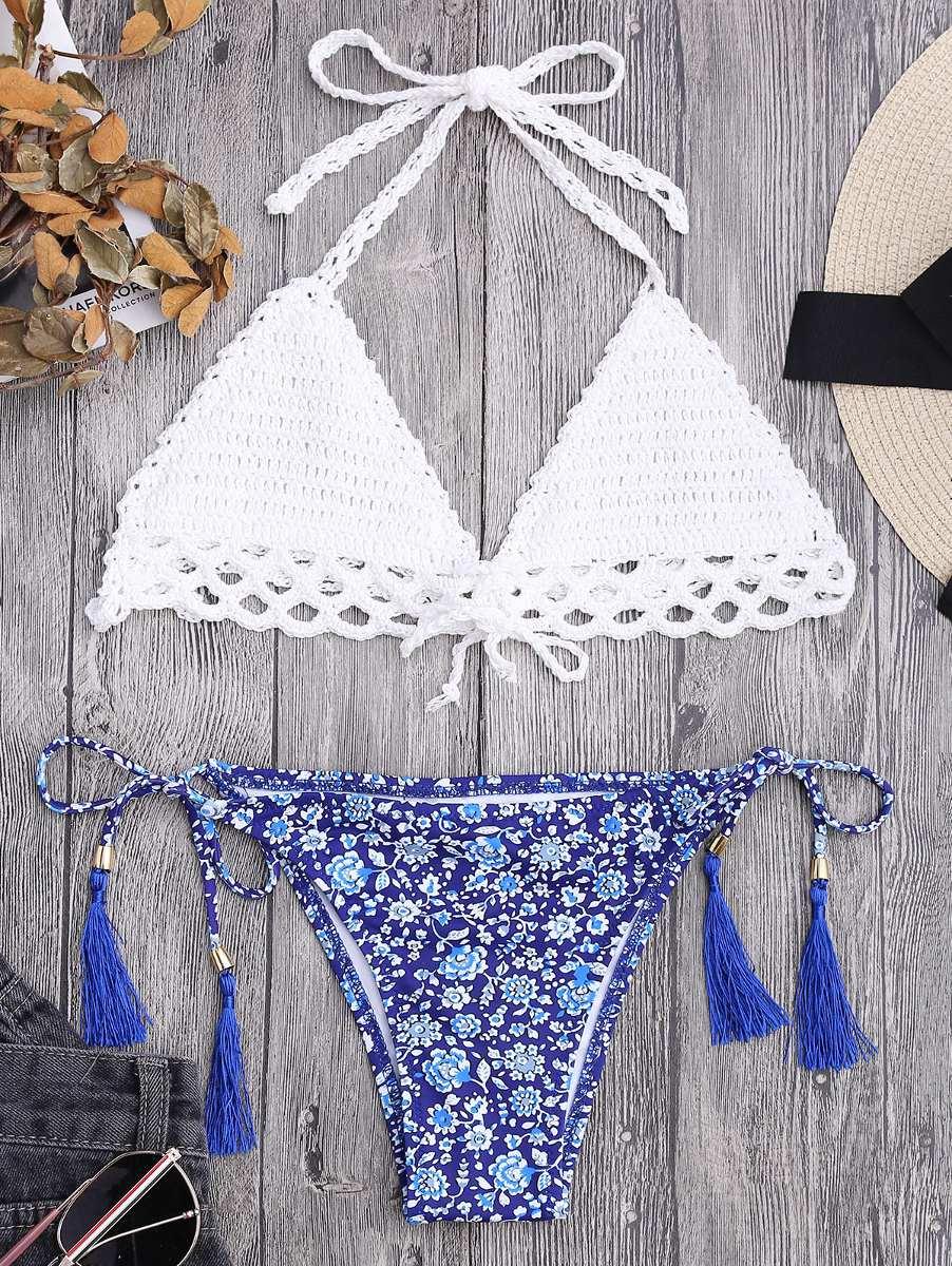 Bikini De Hilo Floral Crochet Para Mujer - Blanco - $ 281.14 en ...