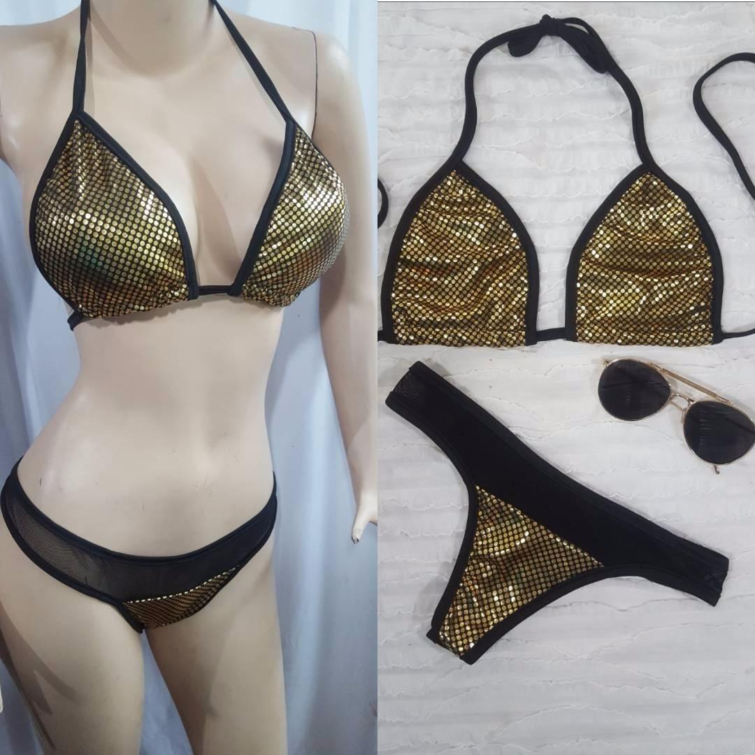26bab3a15d24 Bikini Dorado Con Negro Tanga Semi Brasilera