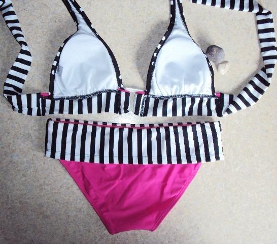0a3fdd7e49c7 Bikini Halter Rosa Negro Lunares Rayas Fuscia Talla Mediana