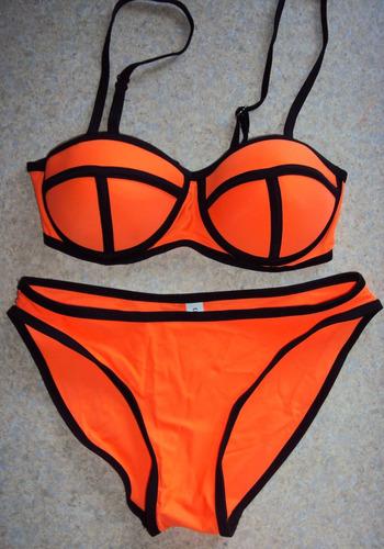 bikini naranja talla chica traje de baño dama playa push up