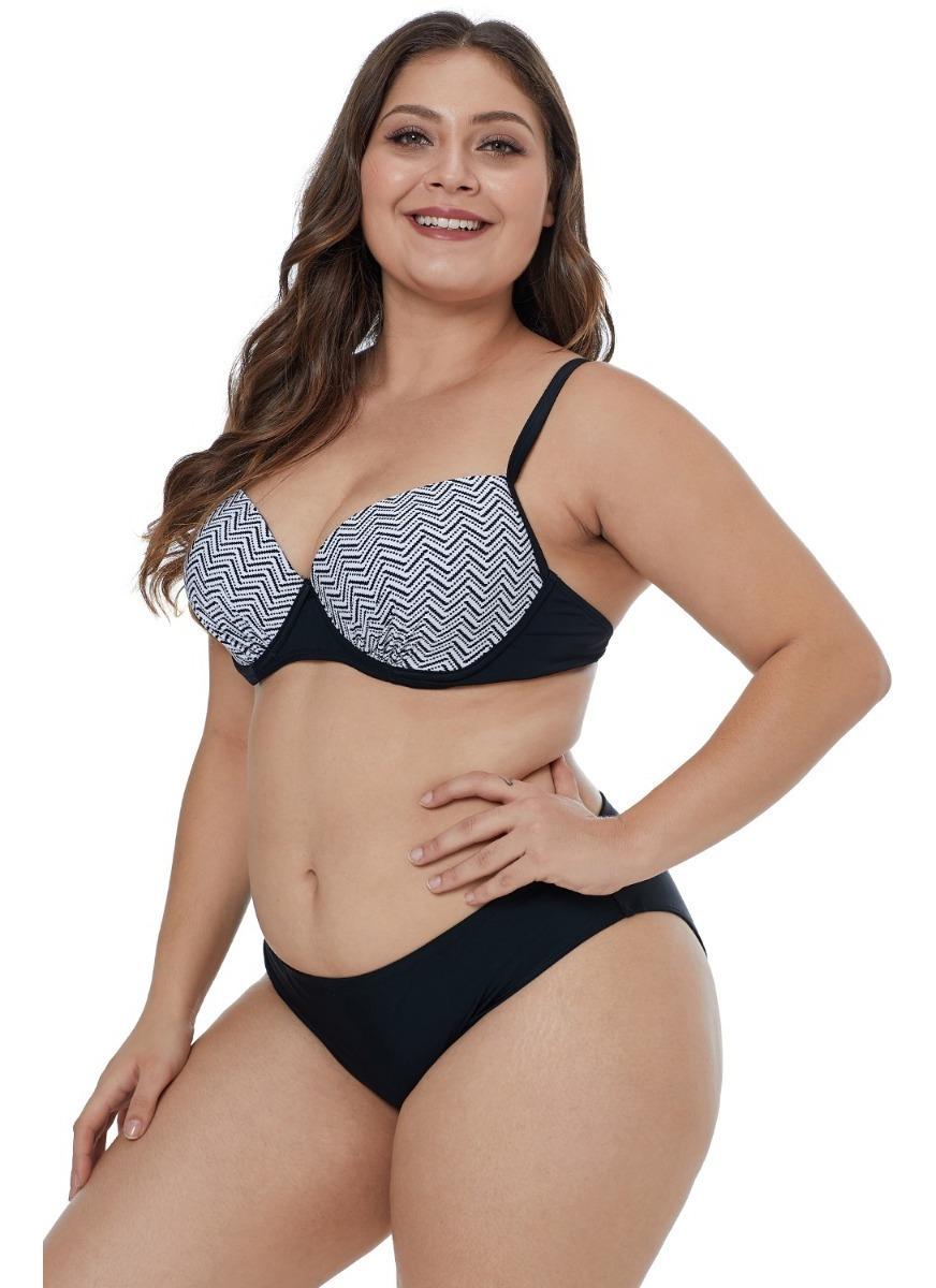 f7e75612dfd4 Bikini Negro Estampado Geométrico En Top Nbk056