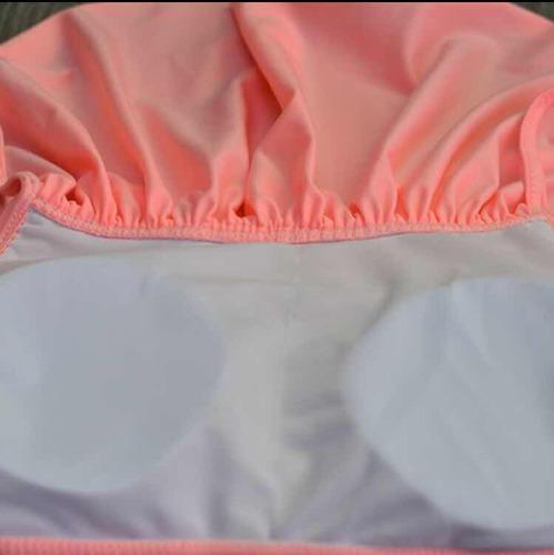bikini olanes vintage retro cintura alta mujer coral y azul