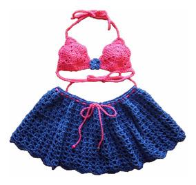 da80466ca Bikini Para Nena - Tejido Artesanal En Crochet - Pollera