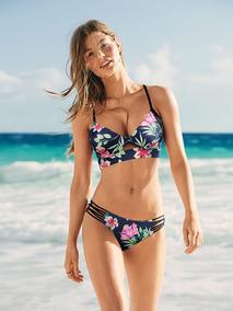 3945d922cf3fe Bikini Pushup Azul Flor M Panty S Pink Victoria Secret