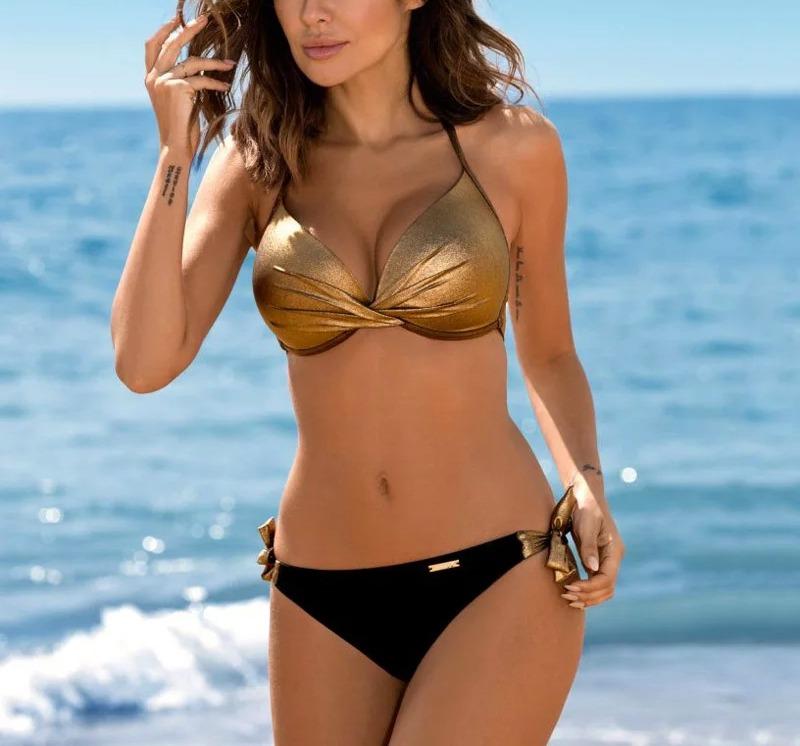 d02d126b391f Bikini Set Negro Con Dorado Con Push Up