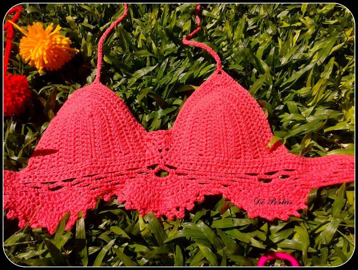 Bikini Tejida Crochet Crop Top Tejido Verano 2015 - $ 350,00 en ...