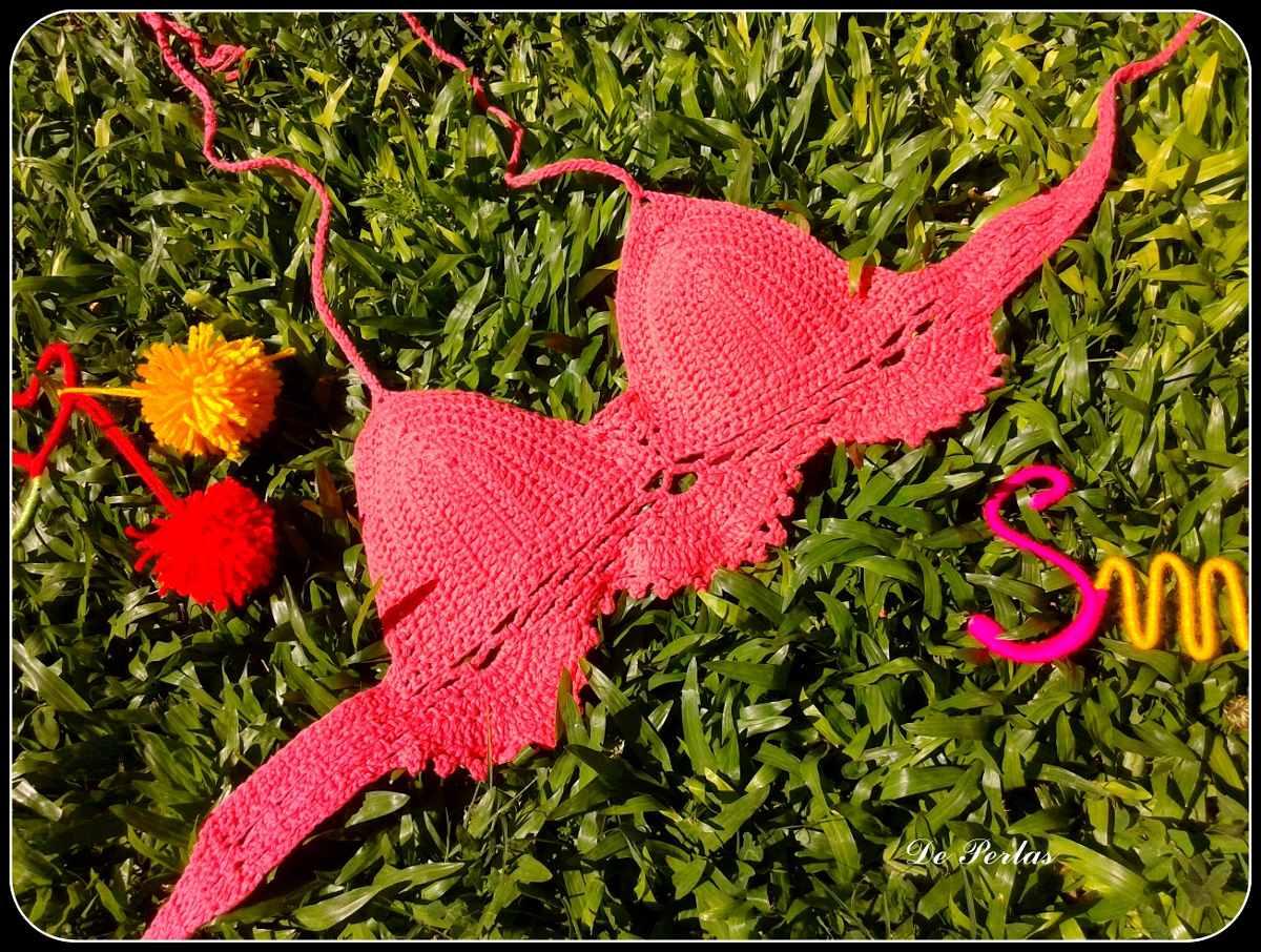 Bikini Tejida Crochet Crop Top Tejido Verano - $ 280,00 en Mercado Libre