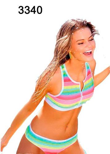 bikini top deportivo con cierre y coulotteless mk art.3340.
