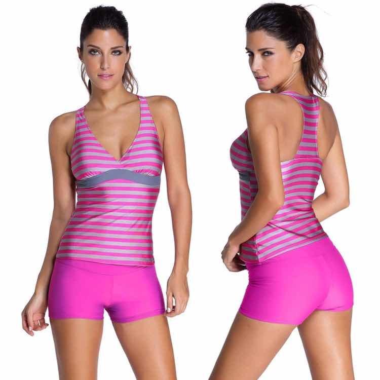 56b0927ecc577 Bikini Traje De Baño Rosa Playera Rayada Y Short Swimsuit -   489.00 ...