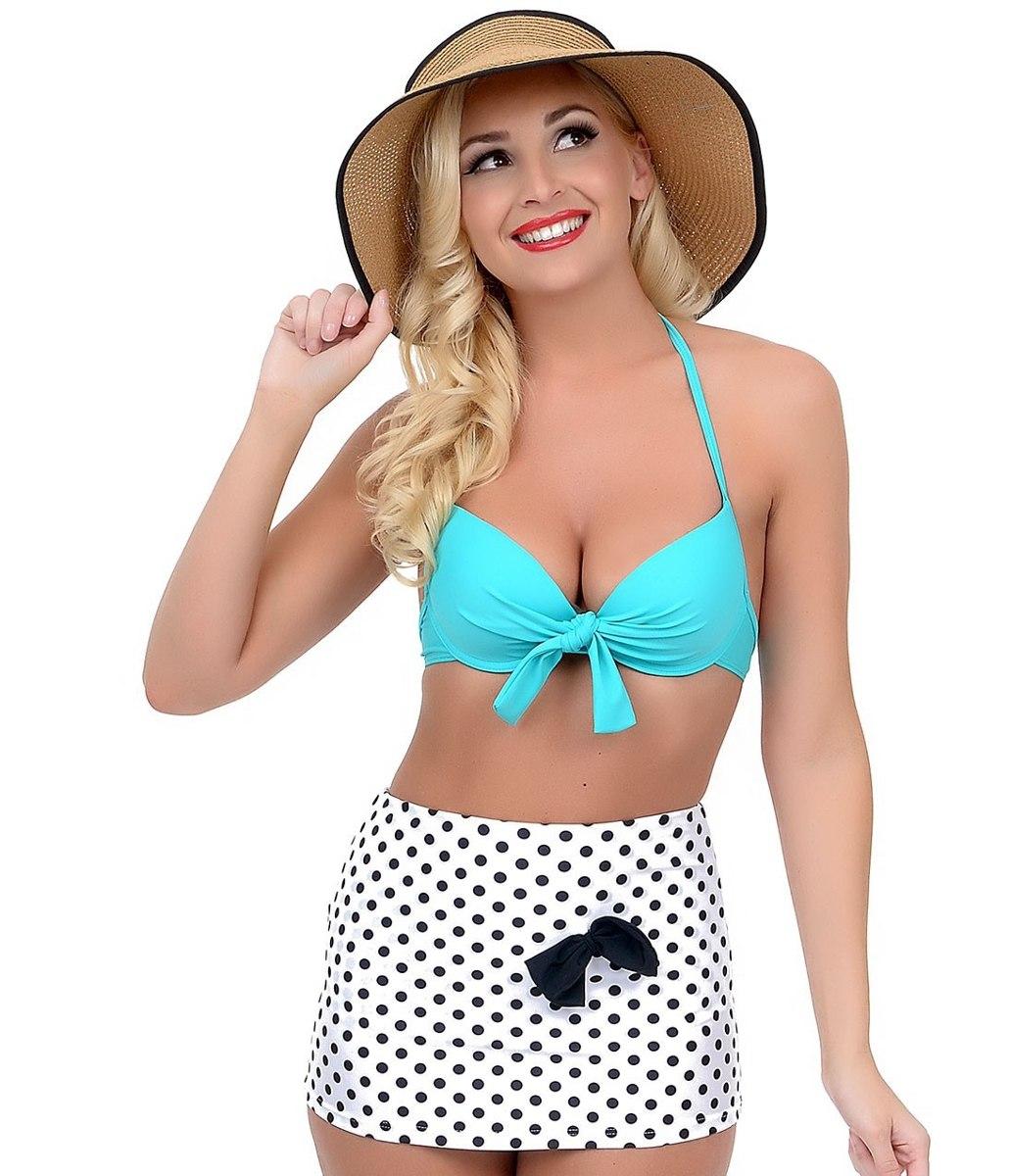 Bikini traje de ba o dama mujer retro falda talla 42 for Traje de bano hombre