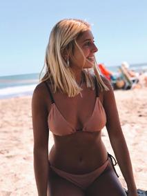 Negras Con Triángulo Tiras Bikini Cobre n8kOX0wP