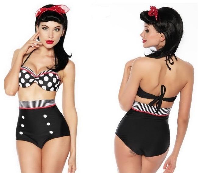 756506e28ef7 Bikini Vintage Traje De Baño Retro Push Up Talla 34 Mediana