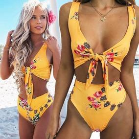 a6b887fffaa8 Bikini 2 Pcs Moda 2018 Brasil Floral Copas Esponja Retro L