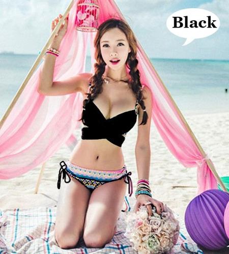 bikinis cruzados traje de bañoboho print moda importada asia