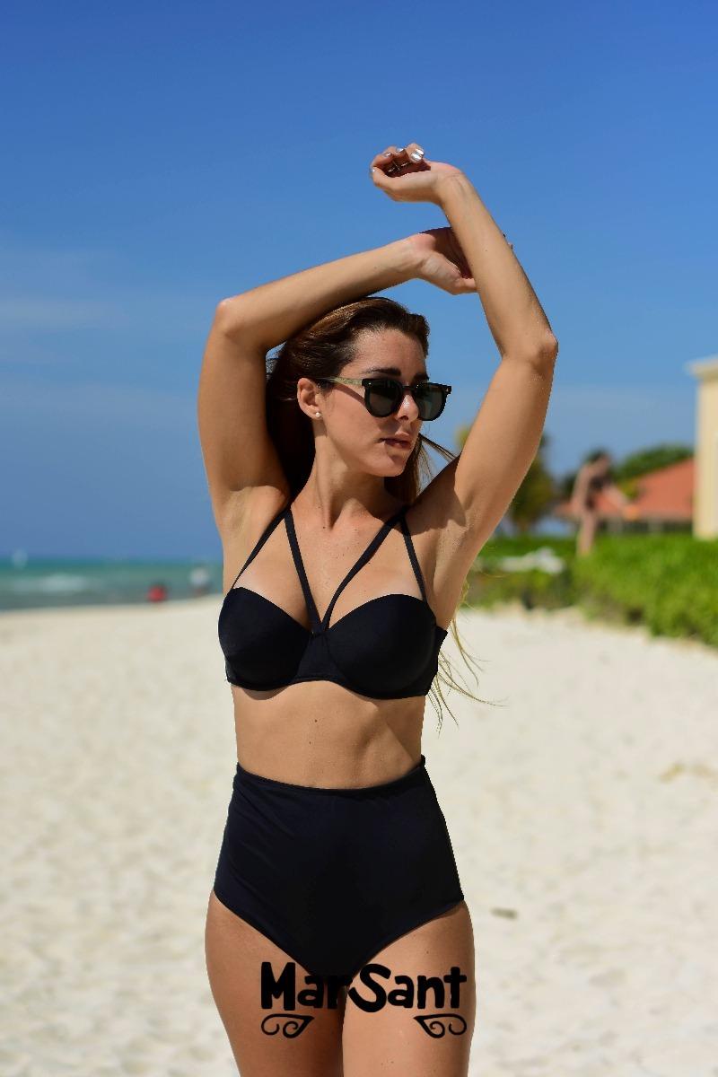 61e63f632b Bikinis Mallas Mujer- Conjunto Con Bombacha Pin Up Tiro Alto ...