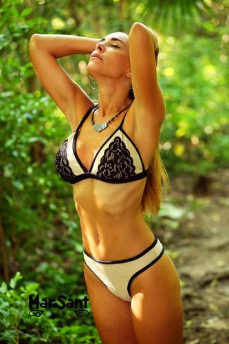 bikinis mallas mujer- conjunto triangulo con encaje