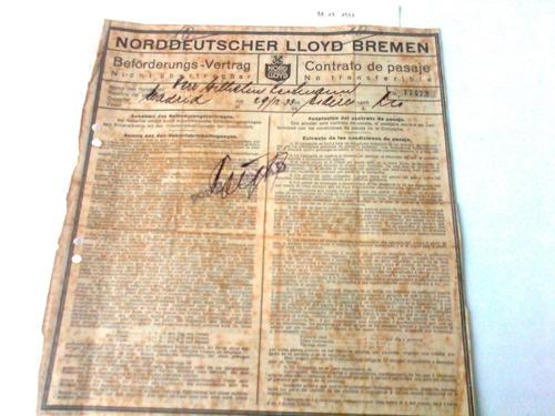 bilhete navio a vapor alemão norddeutscher-lloyd-bremen 1933