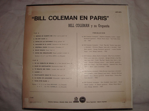 bill coleman en paris-disco -vinilo-en caballito