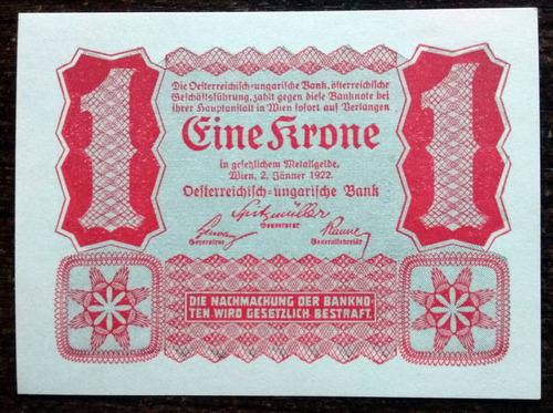 billete 1 corona imperio austrohúngaro austria 1922 p73 aunc
