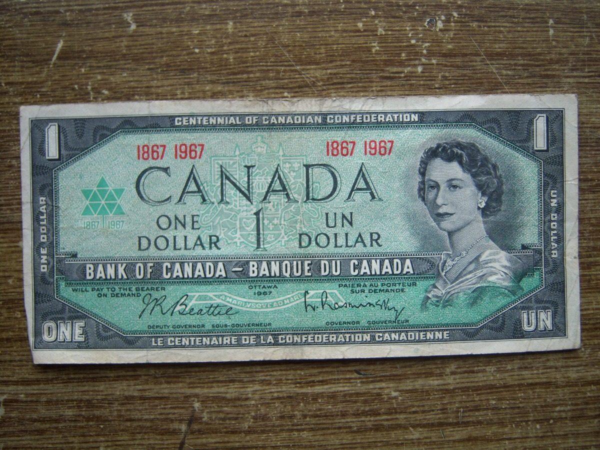 Billete 1 Dólar De Canadá 1967 Circulado 240 00 En Mercado Libre