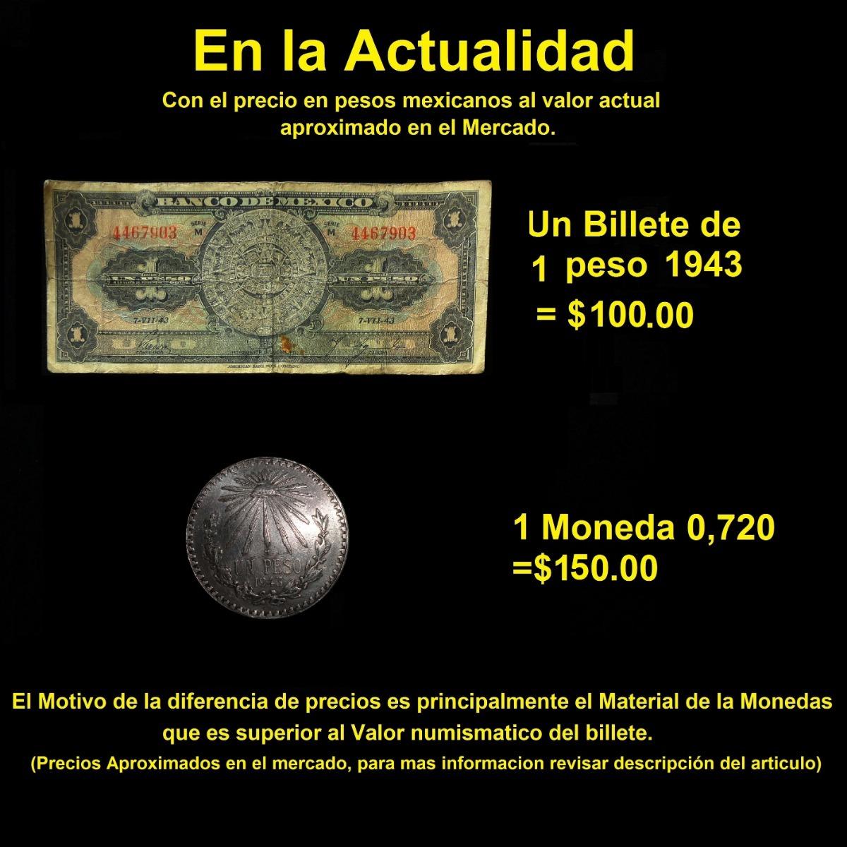 Calendario Con Note.Billete 1 Peso 1943 Calendario Fecha Baja American Bank Note 100 00