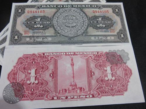 billete 1 un peso calendario azteca  nuevo unc x pieza
