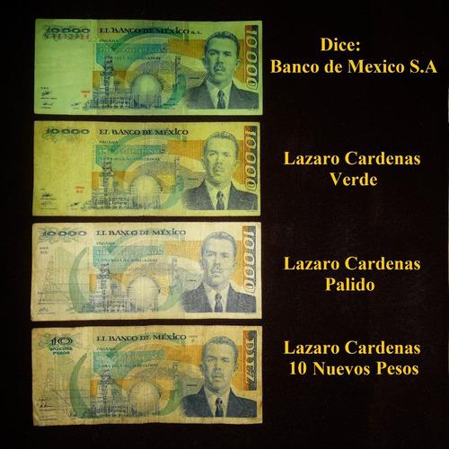 billete 10 000 pesos 1985 lazaro cardenas marca de agua