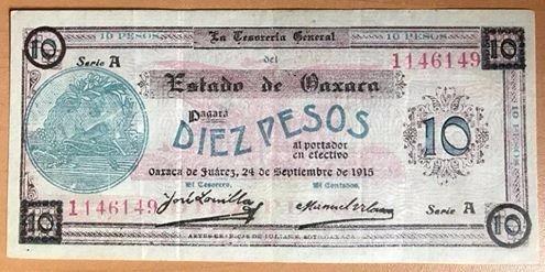 billete $10 1915 oaxaca revolución -papel  sello rojo excele