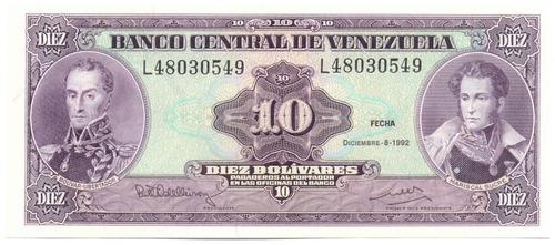 billete 10 bolívares 1992 serial bajo l8 de 5 dígitos