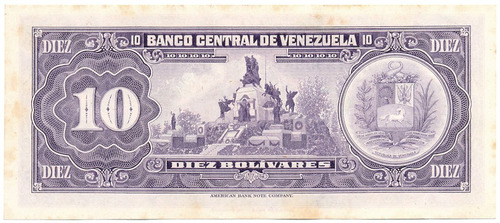 billete 10 bolívares de 1979 serial d8    ef+  manchitas