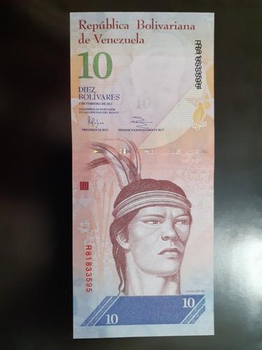 billete 10 bolivares fuerte con error serial (30 verdes)