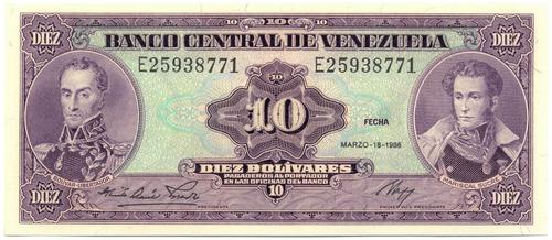 billete 10 bolívares marzo 18 de 1986 serial e8 sc-