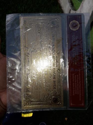 billete 10 colones banco internacional  costa oro laminado.