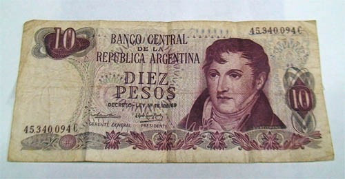 billete 10 pesos moneda nacional, serie c