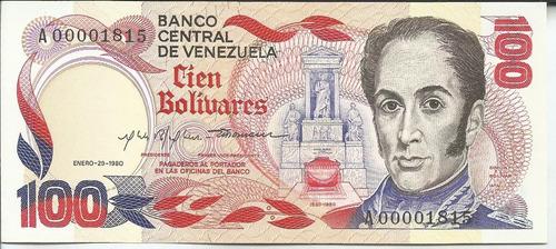 billete 100 bolívares. enero 29 1980. serial bajo. nuevo.