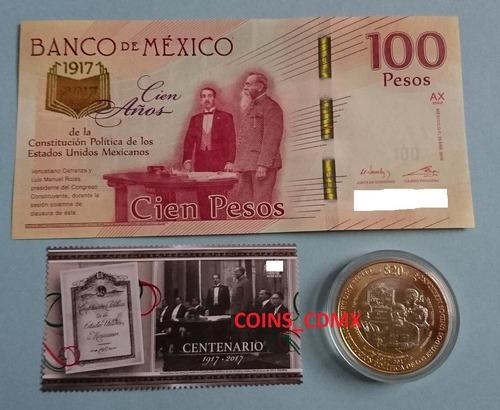 billete $100 centenario constitucion timbre moneda 2017