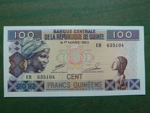 billete 100 francos 2012 guinea - vp