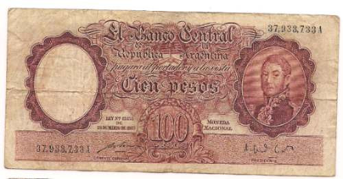billete 100 pesos moneda nacional bottero 2038 año 1949
