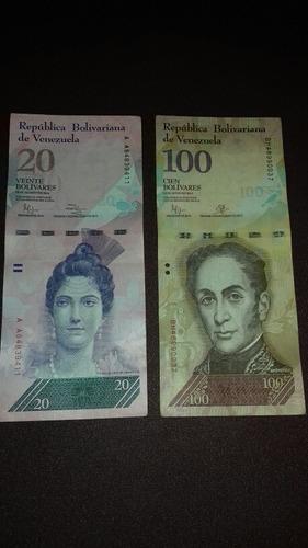 billete 100 y 20 bolivares x 1$