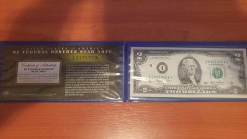billete 2 dolares star note 2003 correlativos x2
