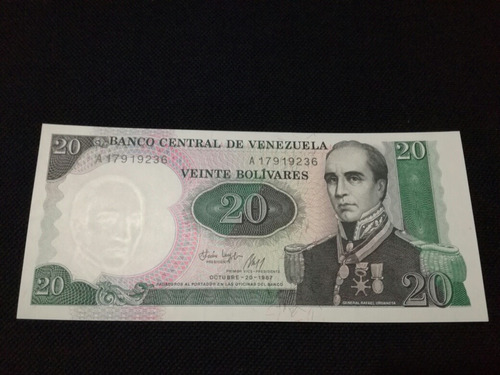 billete 20 bolivares 1987 conmemorativo a8 sin circular unc