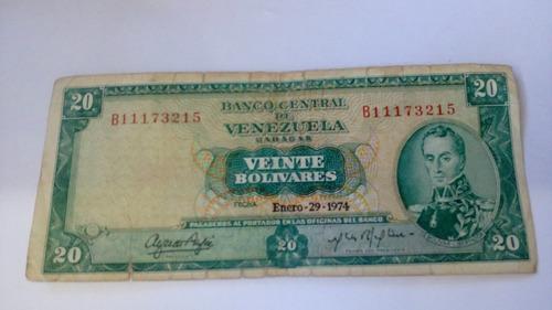 billete 20 bolívares año 1974